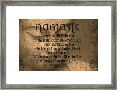 Namaste Orange Framed Print by Dan Sproul