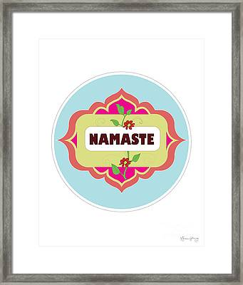 Namaste Vertical Print By Loose Petals Framed Print by Karen Young