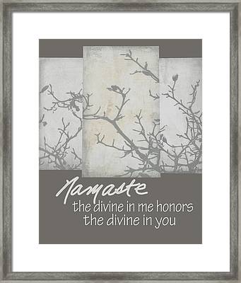 Namaste Quote Framed Print by Ann Powell