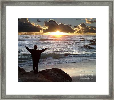 Namaste The Day Framed Print by Bev Conover