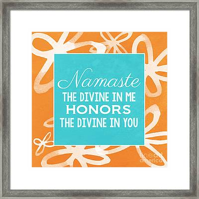 Namaste Watercolor Flowers Framed Print by Linda Woods