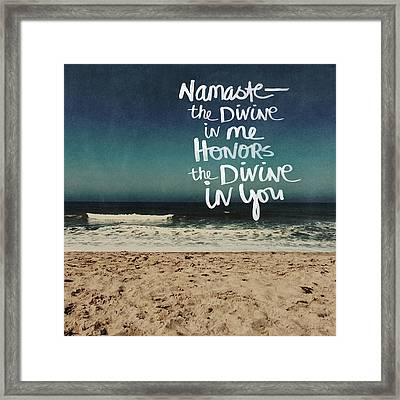 Namaste Waves  Framed Print by Linda Woods