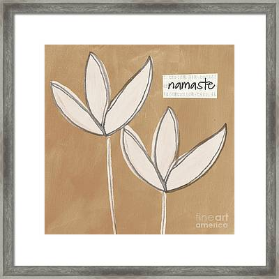 Namaste White Flowers Framed Print by Linda Woods