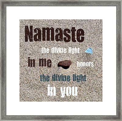 Namaste With Beach Glass And Pebble Framed Print by Michelle Calkins