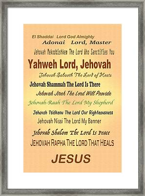 Name Of The Lord Framed Print by Debbie Nobile