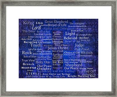 Names And Titles Of Jesus Christ With Blue Background Framed Print