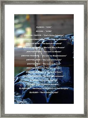Names Of God Framed Print by Roe Rader