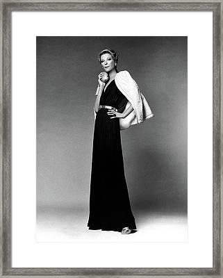 Nan Kempner Wearing A Halter Dress Framed Print