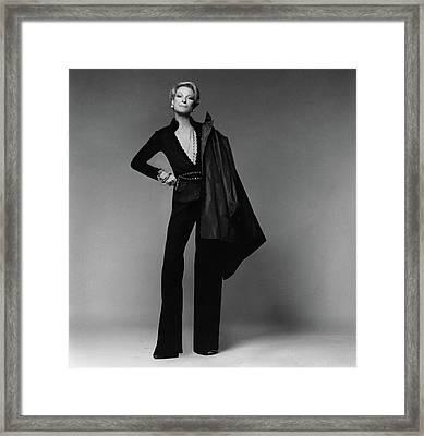 Nan Kempner Wearing A Jacket Framed Print