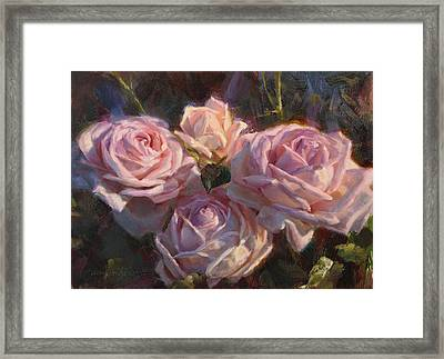 Nana's Roses Framed Print by Karen Whitworth