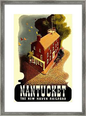 Nantucket Vintage Vacation Poster Framed Print