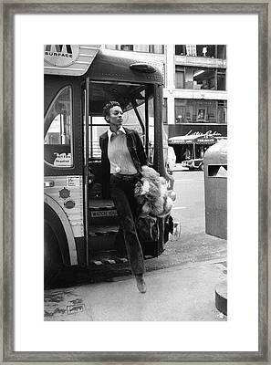Naomi Sims Getting Off A Bus Framed Print