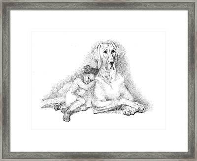 Nap Time. Dog And A Girl. Stippling. Framed Print