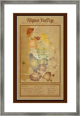 Napa Valley Ava Map Framed Print