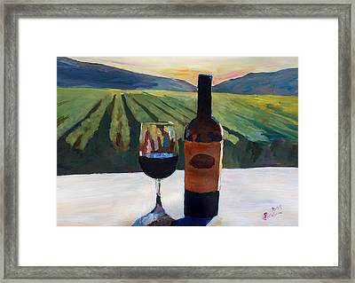 Napa Valley Wine Bottle With Red Wine Framed Print by M Bleichner