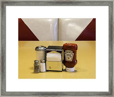 Napkins Ketchup Condiments Framed Print by Betty Denise