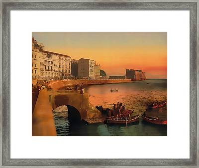 Framed Print featuring the painting Naples Italy 1920 by Douglas MooreZart
