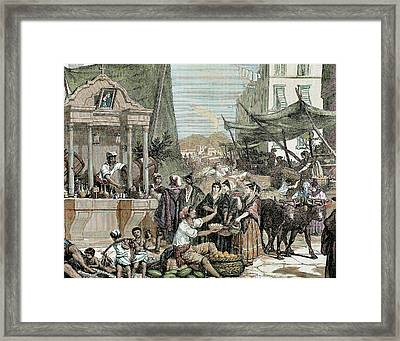 Naples, Italy View Of A City Street Framed Print