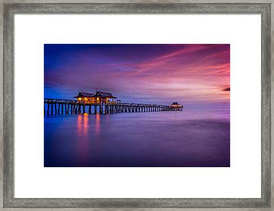 Naples Pier Purple Sunset Framed Print