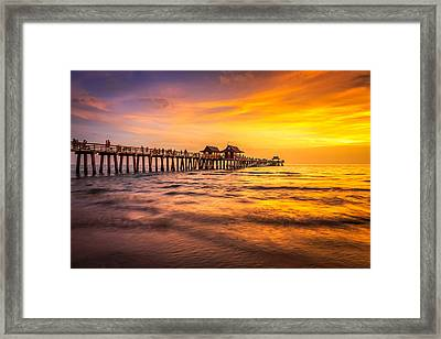 Naples Pier Sunset Framed Print