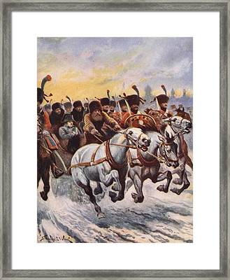 Napoleon At The Retreat From Moscow Framed Print by Stanley L. Wood