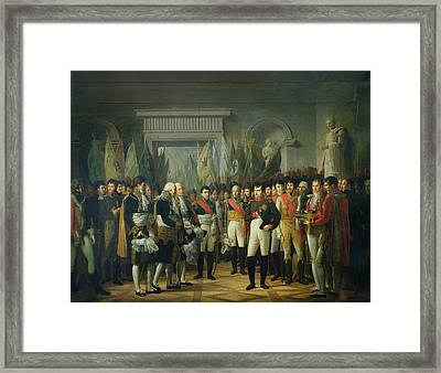 Napoleon I 1769-1821 Receiving The Deputies Of The Conservative Senate At The Royal Palace Framed Print by Rene Theodore Berthon