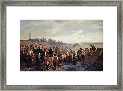 Napoleon IIi Visiting The Slate Quarries Of Angers, 1856 Oil On Canvas Framed Print by Alexandre Antigna