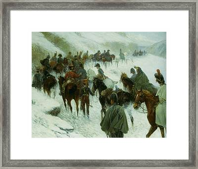 Napoleon Leading His Troops Through Guadarrama Mountains Framed Print