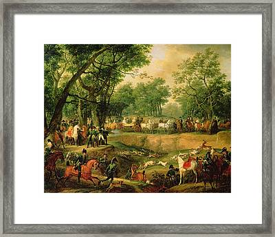 Napoleon On A Hunt In The Compiegne Forest, 1811 Oil On Canvas Framed Print by Antoine Charles Horace Vernet