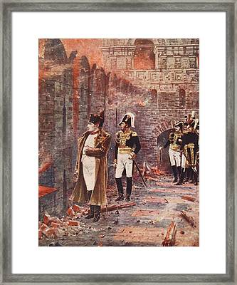 Napoleon Watching The Fire Of Moscow Framed Print by Nikolai Stepanovich Vereshchagin