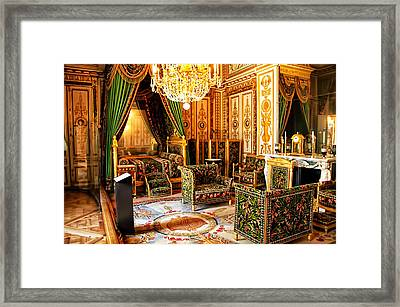 Napoleons Bedroom - Chateaux Fontainebleau - France Framed Print by Jon Berghoff