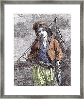 Napolitan Fisher Boy Framed Print by Italian School