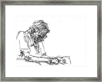 Napping At Waiting Room Framed Print