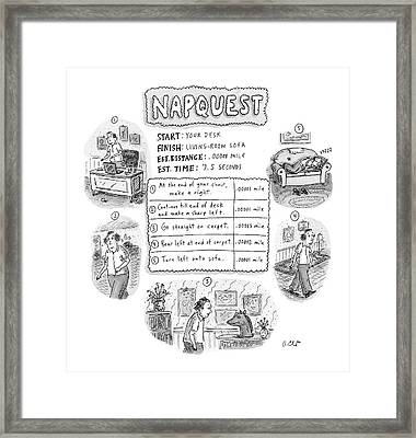 Napquest Framed Print