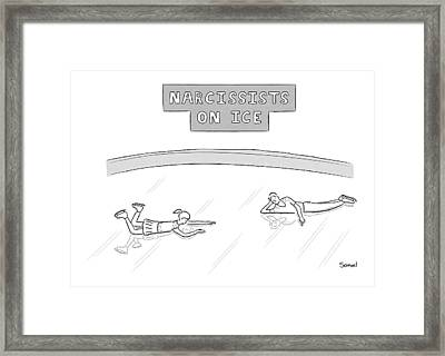 Narcissists On Ice -- Two Figure Skaters Stare Framed Print
