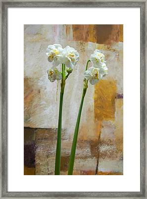 Narcissus And Artwork Framed Print by Lutz Baar