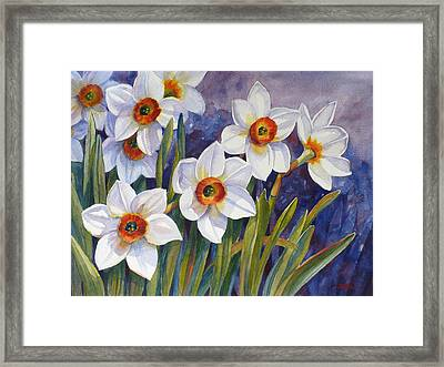 Narcissus Daffodil Flowers Framed Print by Janet  Zeh