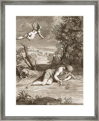 Narcissus Transformed Into A Flower Framed Print