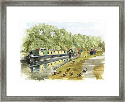 Narrow Boats On The Grand Union Canal Framed Print