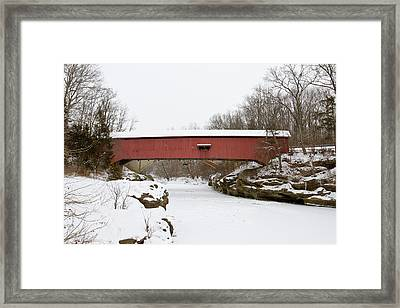 Narrow Covered Bridge In Winter, Turkey Framed Print by Panoramic Images