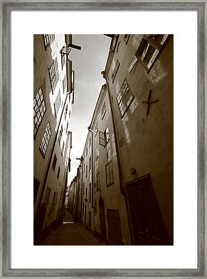 Narrow Medieval Street In Stockholm - Monochrome Framed Print by Ulrich Kunst And Bettina Scheidulin