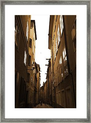 Narrow Medieval Street - Monochrome Framed Print by Ulrich Kunst And Bettina Scheidulin