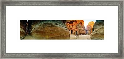 Narrow Passageway At Al Khazneh, Petra Framed Print by Panoramic Images