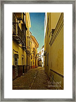 Narrow Street In Seville Framed Print by Mary Machare
