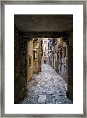 Narrow Street In Venice Framed Print by Francesco Rizzato