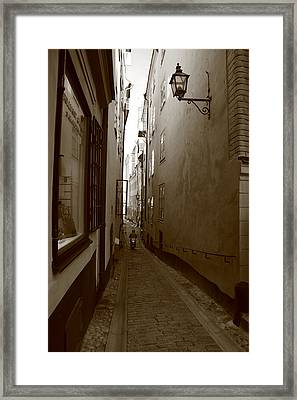 Narrow Street With Motor Scooter - Monochrome Framed Print by Ulrich Kunst And Bettina Scheidulin