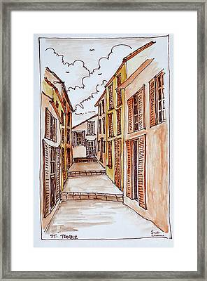 Narrow Streets In The Small Town Framed Print