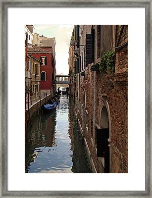 Framed Print featuring the photograph Venice Narrow Waterway by Walter Fahmy
