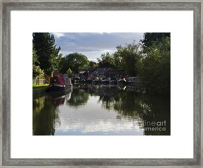 Narrowboats On The Grand Union Canal Framed Print by Louise Heusinkveld
