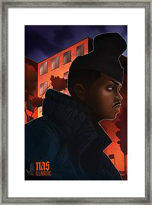 Framed Print featuring the drawing Nas Illmatic by Nelson  Dedos Garcia